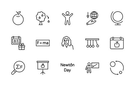 Newton's Day Set Line Vector Icon. Contains such Icons as Newton, Laws of physics and gravity, Flying Apple, Calendar, Teacher, blackboard and projector Editable Stroke. Illustration