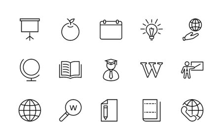 Wikipedia's birthday Set Line Vector Icon. Contains such Icons as Wikipedia, Open Book, Teacher, Blackboard, Pointer, Web Globe, Directory, Search, Lamp, Calendar