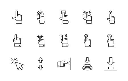 Click Set of Buttons related Vector Icons. Contains such Icons as Cursor, Mouse, Hand, Index Finger, Arrow and more. Editable Stroke. 32x32 Pixels. 矢量图像