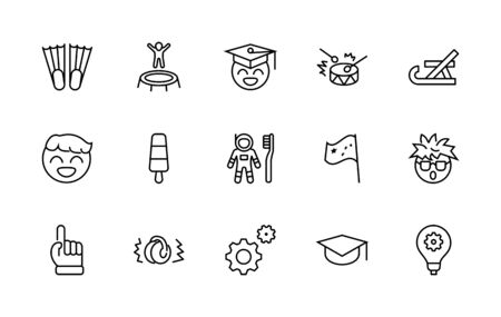 International World Day of Children's Inventions Set Line Vector Icon. Contains such Icons as Toothbrush astronauts, Trampoline, Flippers, Frozen juice, earmuffs. Editable Stroke.