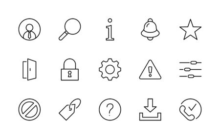 Set of Interface Related Vector Line Icons. Contains such Icons as User, Search, Info, Star, Bell, Door, Settings, Lock, Alert, Gear and more. Editable Stroke. 32x32 Pixels
