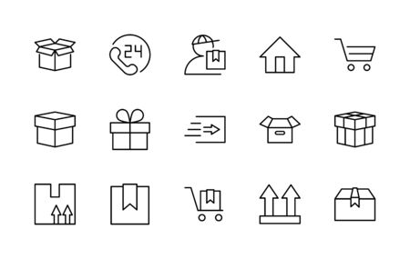 Set of Shipping vector line icon. It contains symbols to box, home and more. Editable Stroke.