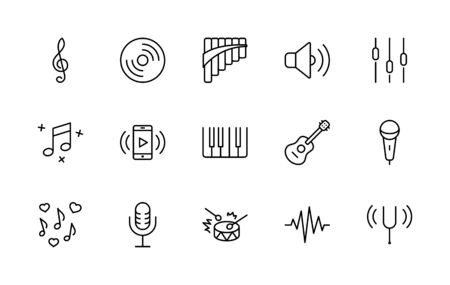 Set of Music Related Vector Line Icons. Contains such Icons as Pan Flute, Piano, Guitar, Treble Clef, In-ear and more.