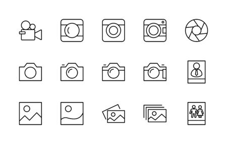 Set of Cameras and photo, vector line icons. Contains symbols of portraits and family photos and much more. Editable Stroke.