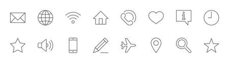Set of Web Vector Line Icons. Contains such Icons as Globe, Wi-fi, Home, Heart, Phone, Pencil, Time Clock, Star and more. Editable Stroke. 32x32 Pixels 矢量图像
