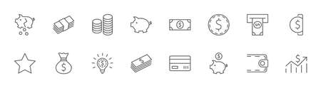 Set of Money Related Vector Line Icons. Contains such Icons as Money Bag, Piggy Bank in the form of a Pig, Wallet, ATM, Bundle of Money, Hand with a Coin and more. Editable Stroke. 32x32 Pixels