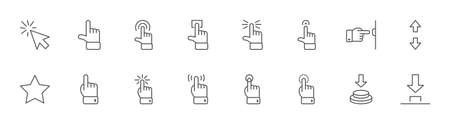 Click Set of Buttons related Vector Icons. Contains such Icons as Cursor, Mouse, Hand, Index Finger, Arrow and more. Editable Stroke. 32x32 Pixels