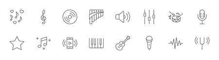 Set of Music Related Vector Line Icons. Contains such Icons as Pan Flute, Piano, Guitar, Treble Clef, In-ear and more. Editable Stroke. 32x32 Pixels
