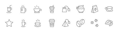 Set of Coffee and Tea Vector Line Icons. Contains such Icons as Cup of Tea,  Teabags, Coffee beans and Green Tea Leaves, a pitcher of Water, Sugar Cubes and more. Editable Stroke. 32x32 Pixels