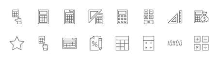 Set of Calculation Vector Line Icons. Contains such Icons as Calculator Icon, Pencil, Click, Money Bag, Percent symbol, Square and Ruler. Editable Stroke. 32x32 Pixels Illustration