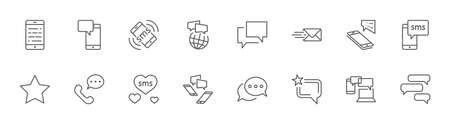 Set of Message Vector Line Icons. Contains such Icons as Conversation, SMS, Heart, Love Chats, Notification, Group Chat and more. Editable Stroke. 32x32 Pixels Illustration