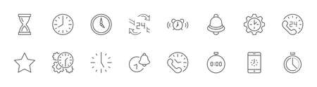 Set of Time Vector Line Icons. Contains such Icons as Timer, Speed, Alarm, Restore, Time Management and more. Editable Stroke. 32x32 Pixels Illustration