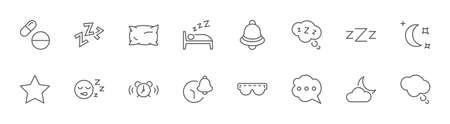 Sleep Vector Line Icons Set. Contains such Icons as Alarm Clock, Bed, Insomnia, Pillow, Sleeping Pills, Bell, Glasses for sleep, Bubble and more. Editable Stroke. 32x32 Pixels Illustration
