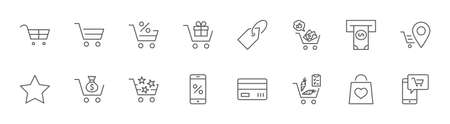 Shopping Cart Vector Line Icons Set: Money, ATM, List Products, Vegetables, Bank Card, Terminal, Bag, Favorite Shopping, Gifts, Express Checkout, Mobile Shop and more. Editable Stroke. 32x32 Pixels Illustration
