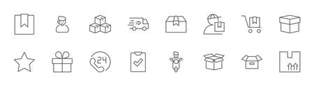 Set of Delivery Shipping vector line icon. It contains symbols to box, home and more. Editable Stroke. 32x32 pixels.