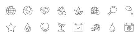 Earth Day Vector Line Icons Set. Editable Stroke. 32x32 Pixels 矢量图像