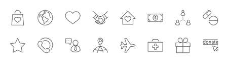 International Day for the Poor Vector Line Icons Set. Contains such Icons as Heart, planet Earth, Handshake, money, Donate, Medicines, Plane and more. Editable Stroke. 32x32 Pixels