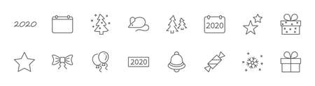 Happy New Year Mouse. Set vector line icon. Contains such Icons as Mouse, Christmas Tree, Calendar 2020, Bow, Balloons, Bell, Candy, Gift Box, Stars, Snowflake. Editable Stroke. 32x32 Pixels