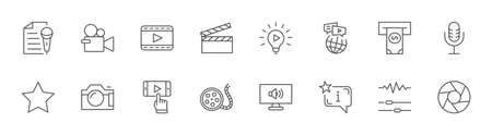 International Film Day Set Line Vector Icons. Contains such Icons as Clapperboard, Camera, Video, Play, Film, Lens, Microphone, Media settings and more. Editable Stroke. 32x32 Pixels