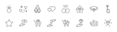 International Jeweler Day Set Line Vector Icons. Contains such Icons as Love, Heart, Hand, Family, Wedding Rings, Diamond, Jewelry store, Gift, Basket and more. Editable Stroke. 32x32 Pixels Illustration