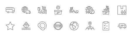 International Customs Day Set Line Vector Icons. Editable Stroke. 32x32 Pixels