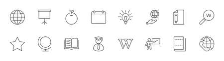 Wikipedia's birthday Set Line Vector Icon. Contains such Icons as Wikipedia, Open Book, Teacher, Blackboard, Pointer, Web Globe, Directory, Search, Lamp, Calendar. Editable Stroke. 32x32 Pixels