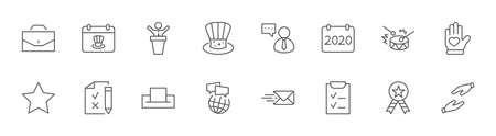 International Presidents Day Set Line Vector Icons. Contains such Icons as Hat, President, Voting, USA, Flag, Elections, Government, Ballot, Box, Check, Politics and more Editable Stroke 32x32 Pixels
