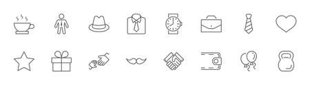 Father's Day Set Line Vector Icons. Contains such Icons as Mustache, tie, shirt, handshake, diplomat, hat, coffee, purse, gift, portfolio and more. Editable Stroke. 32x32 Pixels