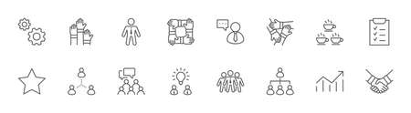 Set of Team Work Related Vector Line Icons. Contains such Icons as Handshake, Check, Idea, Coffee, Gears, Cooperation, Collaboration, Team Meeting and more. Editable Stroke. 32x32 Pixels Illustration