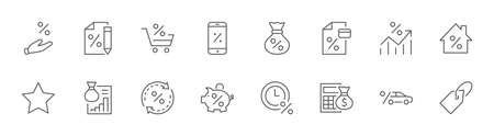 Set of Credit and Loan Related Vector Line Icons. Contains such Icons as Credit Card, Rate Calculator, Deposit and more. Editable Stroke. 32x32 Pixels Illustration