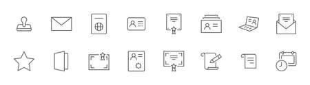 Set of Legal Documents Related Vector Line Icons. Contains such Icon as Visa, Contract, Declaration, License, Permission, Grant and more. Editable Stroke. 32x32 Pixels Illustration