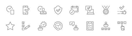 Set Approve Vector Line Icons. Contains such Icons as Quality Check, Protection Guarantee, Accepted Document and more. Editable Stroke. 32x32 Pixels Illustration