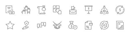Set of Business Cooperation Vector Line Icons. Contains such Icons as Puzzle, Partnership, Money, Handshake, Dollars, Team, Synergy, Work, Interaction and more. Editable Stroke. 32x32 Pixels Illustration