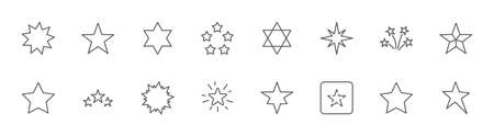Set of Stars Vector Line Icons. Contains such Icons as Starry night, falling star, firework, twinkle, glow, glitter burst and more. Outline signs for glossy material. Editable Stroke. 32x32 Pixels. Illustration