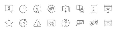 Set of Help And Support Vector Line Icons. Contains such Icons as Handbook, Book, Online Help, Tech Support and more. Editable Stroke. 32x32 Pixels. Illustration