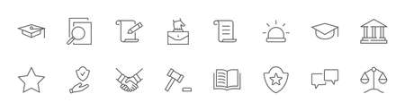 Set of Law and justice Vector Line Icons. Contains such Icons as weapon, arrest, authority, courthouse, gavel, legal, weapon and more. Editable stroke. 32x32 Pixels. Illustration
