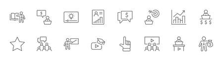 Set of Business Training Related Vector Line Icons. Contains such Icons as Teacher, Class, Presentation, Video, Book, Mentoring, Target and more. Editable Stroke. 32x32 Pixels.