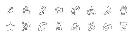 Set of Washing Hands Vector Line Icons. Contains such Icons as Coronavirus, Contactless Water Tap, Antiseptic, Washing Instruction, Hand Dryer, Soap and more. Editable Stroke. 32x32 Pixels