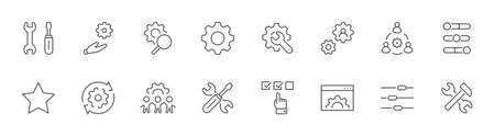 Set of Settings and Setup Vector Line Icons. Contains such Icons as Gear, Setting, Control, Iinstall, Options, Service, and more. Editable Stroke. 32x32 Pixels Illustration