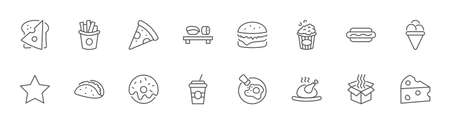 Set of Foods, Drinks Related Vector Line Icons. Contains such Icons as Pizza, Fries, Egg, Meat, Sushi, Chicken, Hamburger, Ice Cream, Donut, Soup, Sandwich, eggs and more. Editable Stroke. 32x32 Pixel Illustration