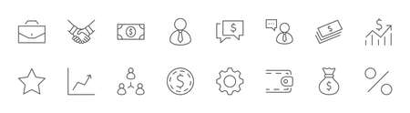 Set of Business vector line icons. It contains symbols of a handshake, a user, dollar pictograms, gears, a briefcase, a bag of money, a schedule and much more. Editable Stroke. 32x32 pixels. Illustration