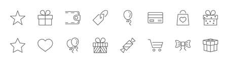 Set of Gifts Vector Line Icons. Contains Symbols Gift Cards, Ribbons and more. Editable Stroke. 32x32 pixel.