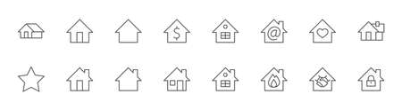 Set of House Vector Home Line Icons. Contains symbols of Conclusion of Contract, Heart, Drop of water, fire, money and more. Editable Stroke. 32x32 pixels.