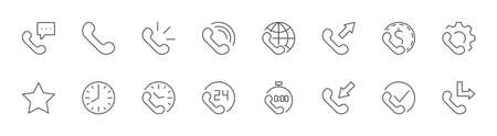 Set of Phone vector line icons. It contains the symbols of incoming, outgoing, missed calls, global call and round the clock online support and much more. Editable Stroke. 32x32 pixels.