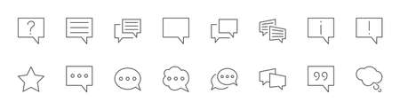 Set of Speech Bubble chat vector line icons. Editable Stroke. 32x32 pixels. 矢量图像