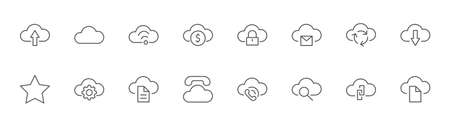 Set of Cloud Vector Line Icon. It contains Symbols to Upload, Download, Link and more. Editable Stroke. 32x32 pixels. Illustration