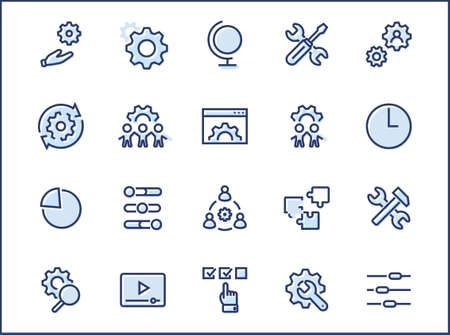 Set of Settings and Setup Vector Line Icons. Contains such Icons as Gear, Setting, Control, Iinstall, Options, Service, and more. Editable Stroke. 32x32 Pixels.