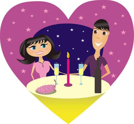 Illustratie van een romantisch supper van gelukkig enkele /