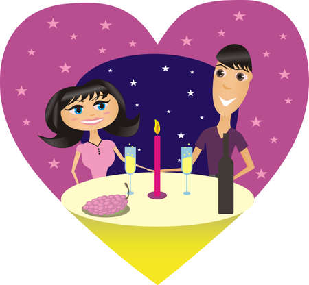Illustration of a romantic supper of happy couple Vector