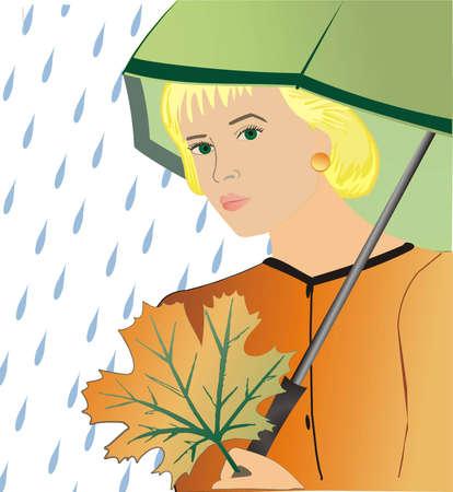 The girl under an umbrella with an autumn leaf Stock Vector - 5918550